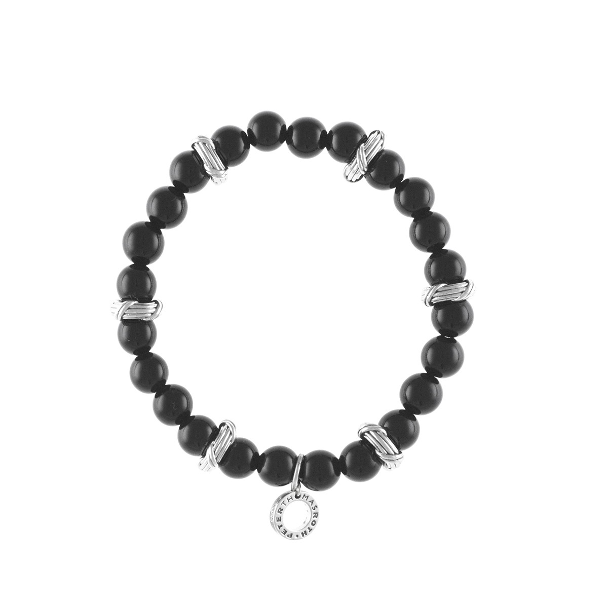 Ribbon Amp Reed Bead Bracelet In Black Onyx And Sterling Silver