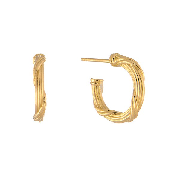 Ribbon and Reed Heritage Hoop Earrings in 18K yellow gold 5""