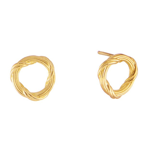 mini gold circle yellow and signature heritage earring stud reed ribbon romance earrings in