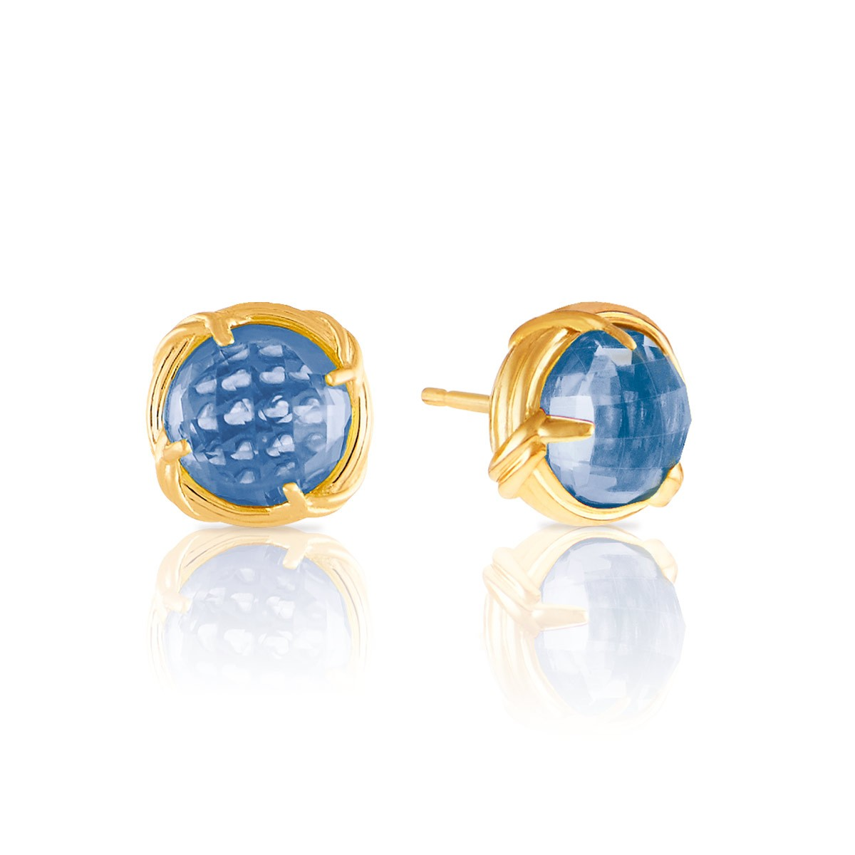 yellow chequerboard topaz p gold cut blue earrings cushion stud