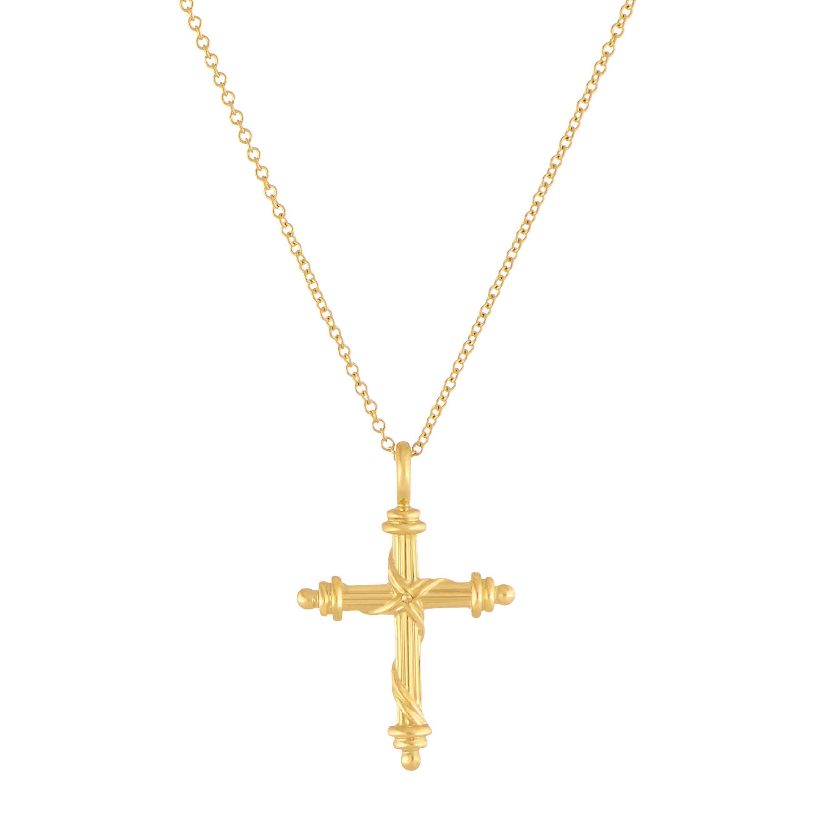 heritage cross pendant necklace in 18k yellow gold mini 16