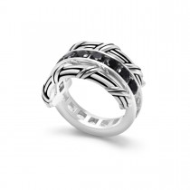 Signature Classic Reversible Ring with white topaz and black spinel in sterling silver