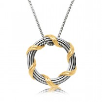 Signature Classic Circle Pendant Necklace in two tone sterling silver 1""