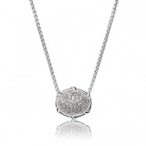 Signature Classic Oval Pave Necklace with white topaz in sterling silver