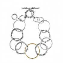 Signature Mixed Link Bracelet in sterling silver and 18K yellow gold