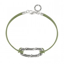 Rectangle Link Bracelet in sterling silver and olive green leather