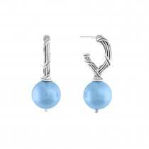 Bead Earrings with turquoise sea shell pearls in sterling silver