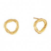 Heritage Circle Stud Earrings in 18K yellow gold mini