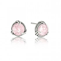 Fantasies Rose Quartz Stud Earrings in sterling silver