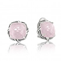 Fantasies Rose Quartz Omega Back Earrings in sterling silver
