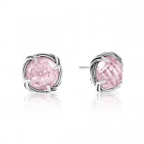 Fantasies Rose Quartz Stud Earrings in sterling silver 10mm