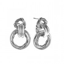Signature Mixed Link Hoop Earrings in sterling silver