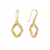 Heritage Single Oval Drop Earrings in 18K yellow gold