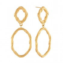 Heritage Oval Drop Earrings in 18K yellow gold