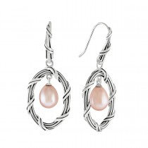 Pearl Oval Drop Earrings in sterling silver