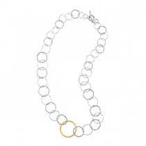Signature Mixed link necklace in sterling silver and 18K yellow gold