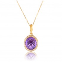 Fantasies Amethyst Halo Pendant Necklace in diamonds and 18K Gold
