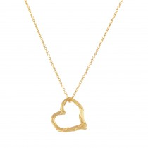 "Heritage Mini Floating Heart Necklace in 18K Yellow Gold 18"" Adjustable Chain"
