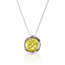 Fantasies Lemon Citrine Necklace in sterling silver 10mm