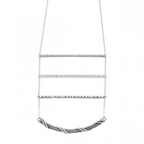Signature Classic Bolo Ladder Necklace with white topaz in sterling silver