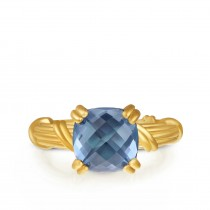 Fantasies London Blue Topaz Cocktail Ring in 18K yellow gold