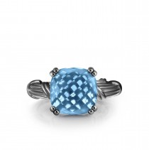 Fantasies Blue Topaz Cocktail Ring in ruthenium silver