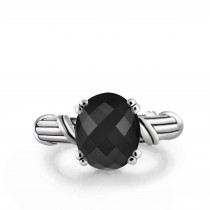 Fantasies Black Onyx Oval Cocktail Ring in sterling silver