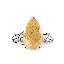 Fantasies Citrine Pear Cocktail Ring in sterling silver