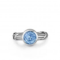 Fantasies Blue Topaz Solitaire Ring in sterling silver