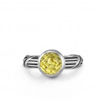 Fantasies Lemon Citrine Solitaire Ring in sterling silver