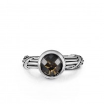 Fantasies Smoky Quartz Solitaire Ring in sterling silver