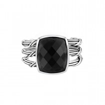 Fantasies Black Chalcedony 3 Row Cocktail Ring in sterling silver