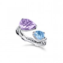 Fantasies Pear Bypass Ring in sterling silver with amethyst and blue topaz