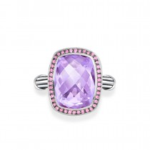 Fantasies Lavender Amethyst Halo Ring in sterling silver with pink sapphires