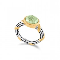 Fantasies Prasiolite Oval Bezel Set Ring in two tone sterling silver