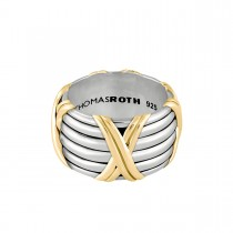 Signature Classic Kiss Wide Band Ring in two tone sterling silver