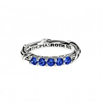 Signature Classic Five Stone Band Ring with blue sapphires in sterling silver
