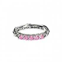 Signature Classic Five Stone Band Ring with pink sapphires in sterling silver