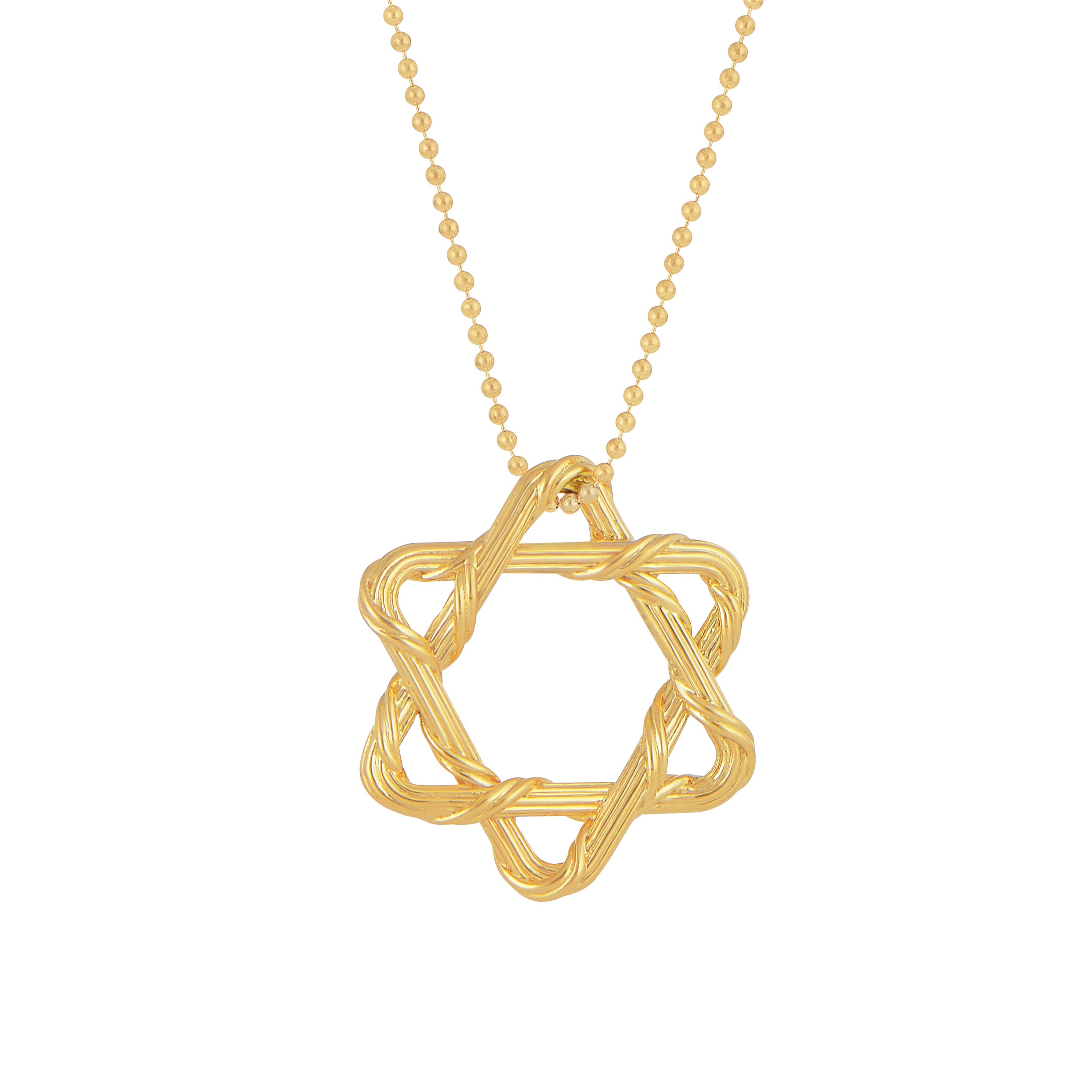 Heritage Star of David Necklace on Beaded Chain in 18K yellow gold