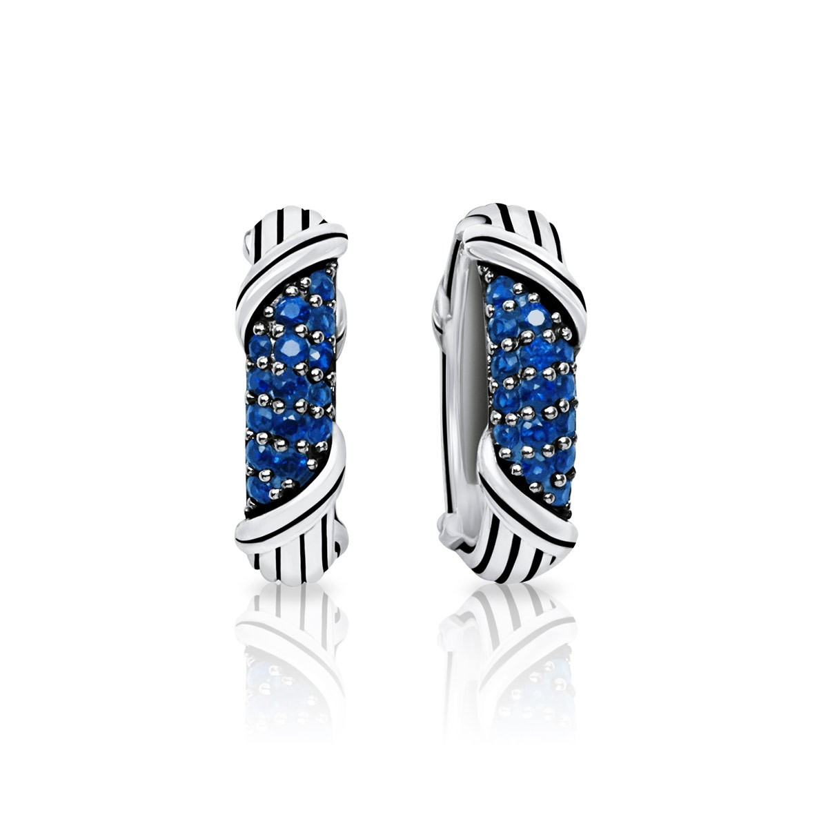 Signature Classic Pave Oval Hoop Earrings with blue sapphires in sterling silver
