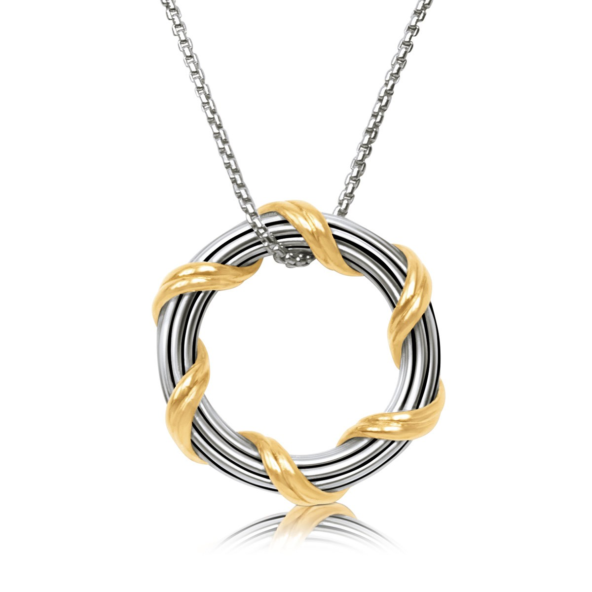 """Signature Classic Circle Pendant Necklace in two tone sterling silver 1"""""""