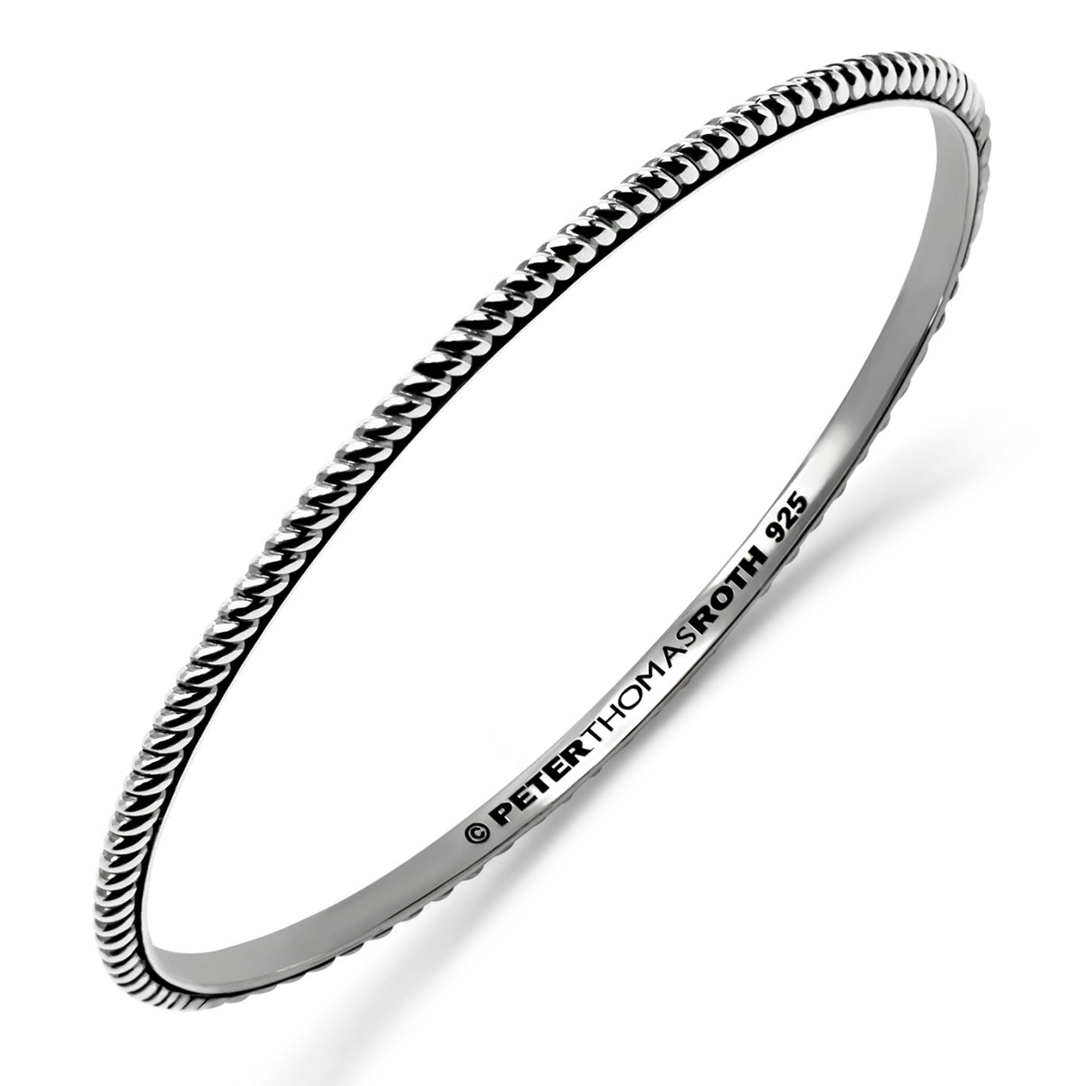 Twisted Stack Oval Bangle in sterling silver