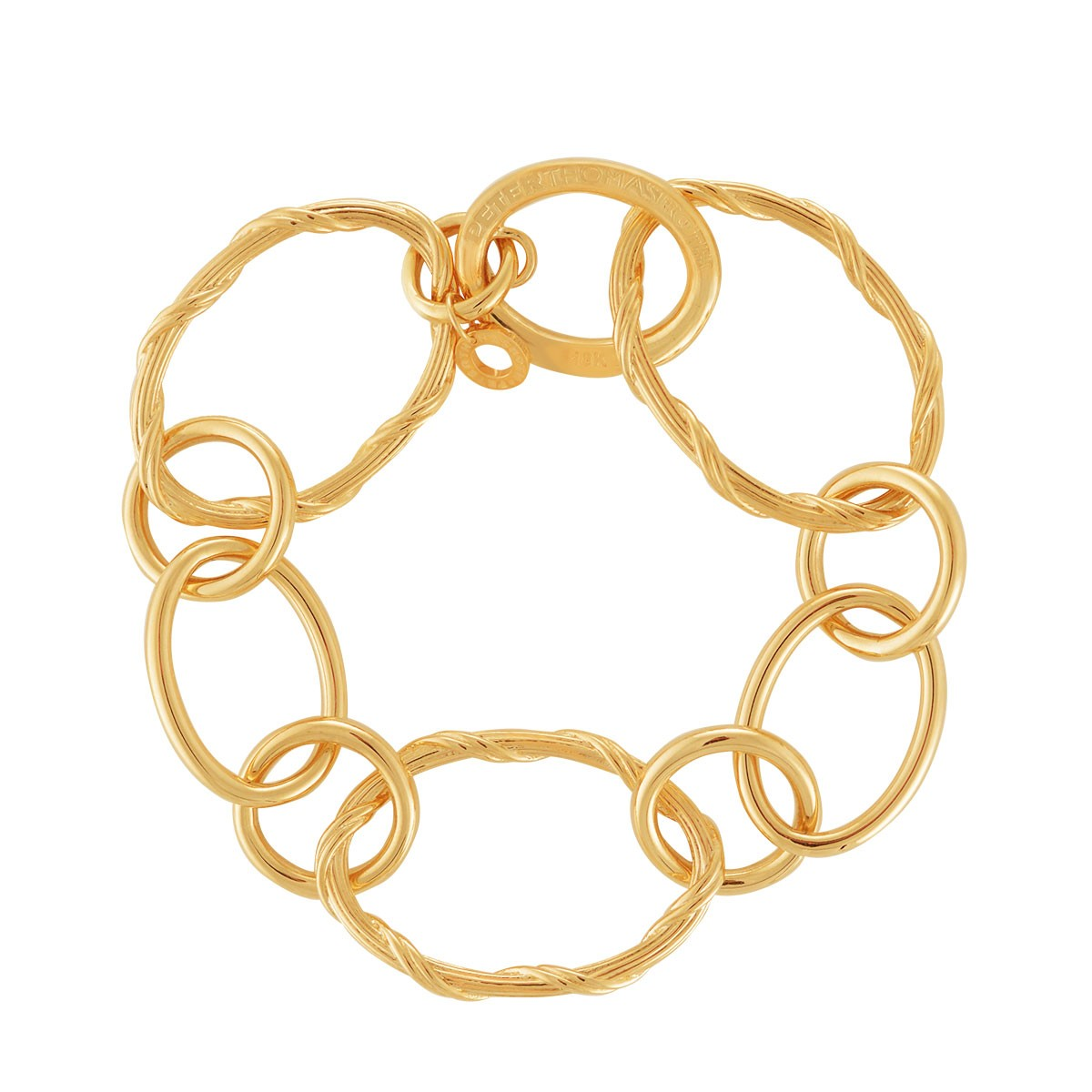 Heritage Mixed Link Oval Bracelet in 18K yellow gold