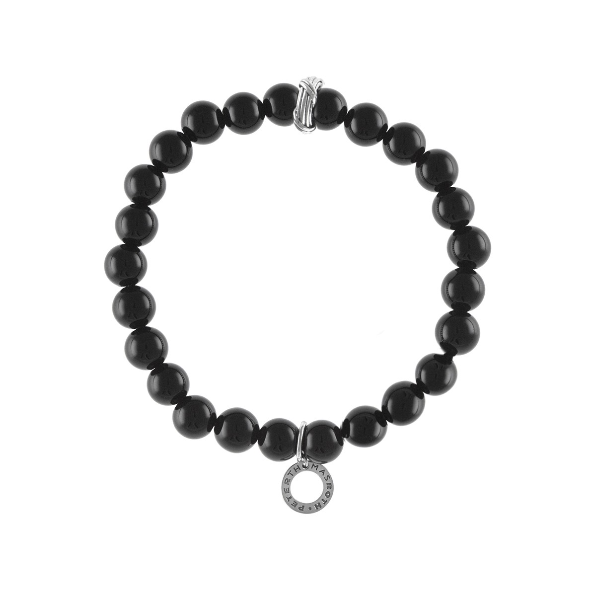 Explorer Bead Bracelet in sterling silver with black chalcedony