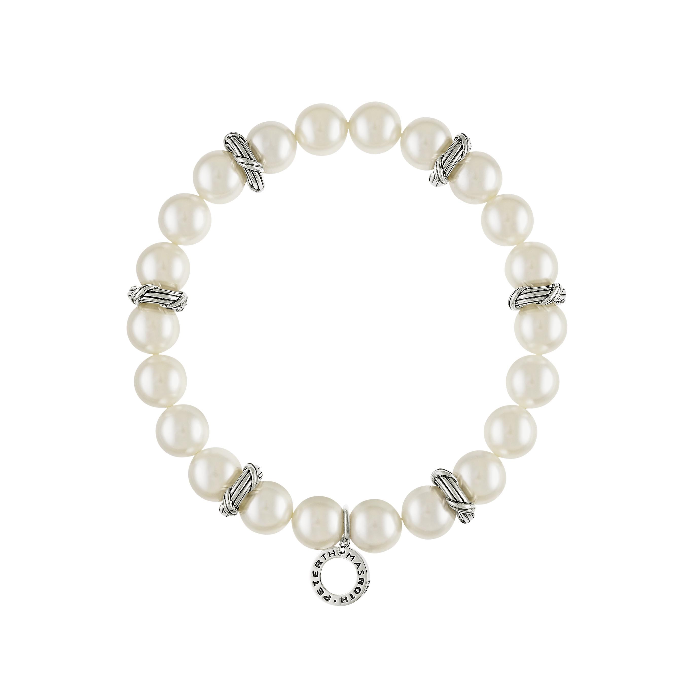 Bead Bracelet in 9mm white sea shell pearls and sterling silver