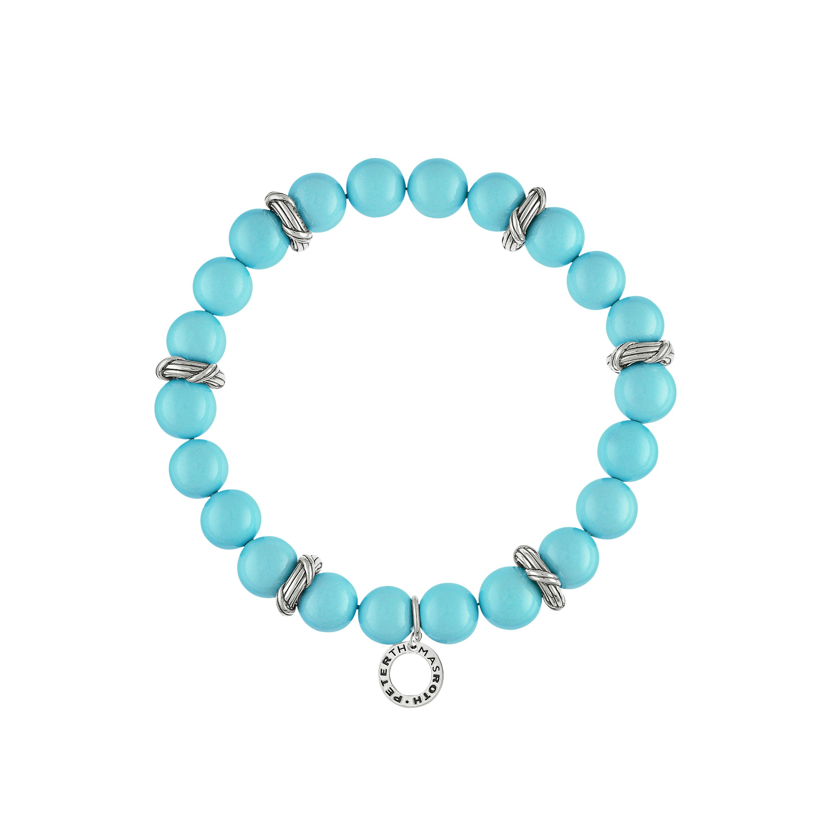 Bead Bracelet in 9mm turquoise sea shell pearls and sterling silver
