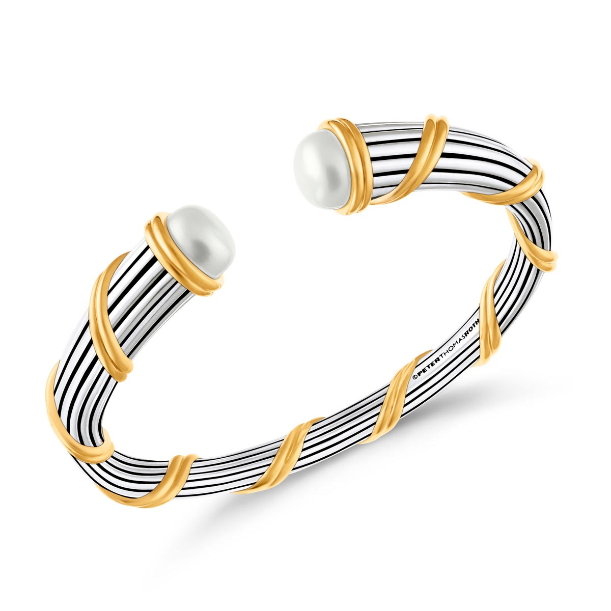 Signature Classic Pearl Tapered Cuff in two tone sterling silver