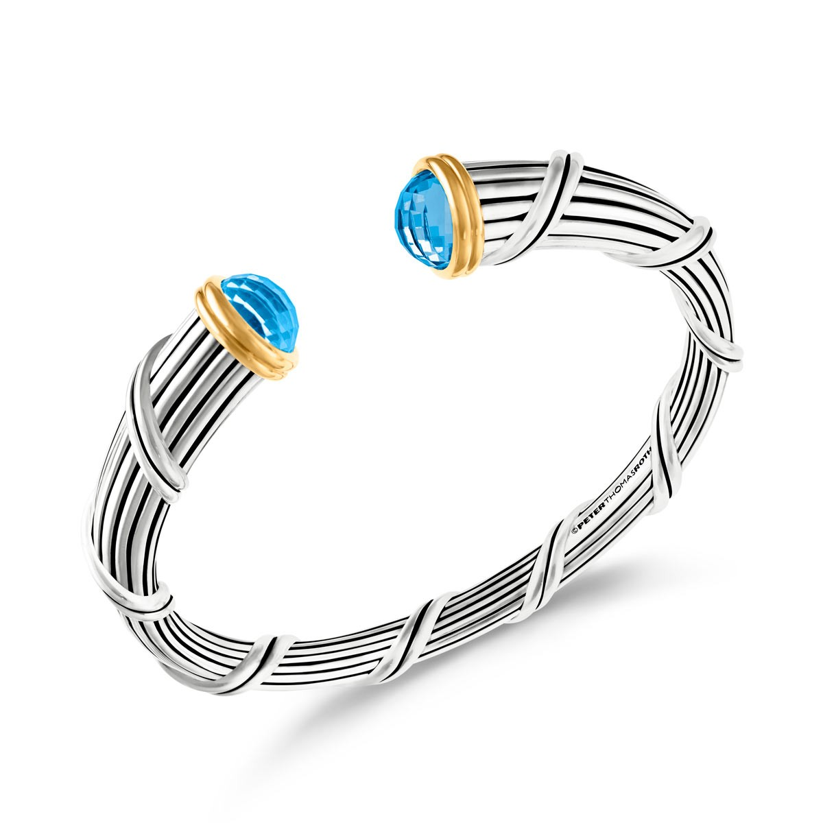 Fantasies Blue Topaz Tapered Cuff in two tone sterling silver