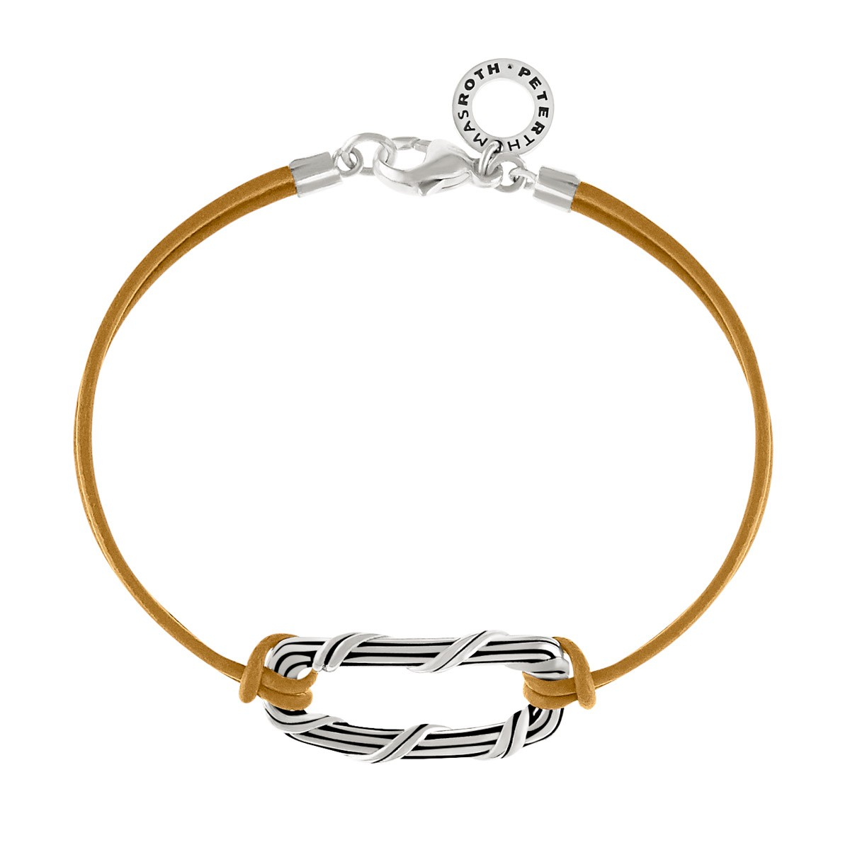Rectangle Link Bracelet in sterling silver and metallic gold leather