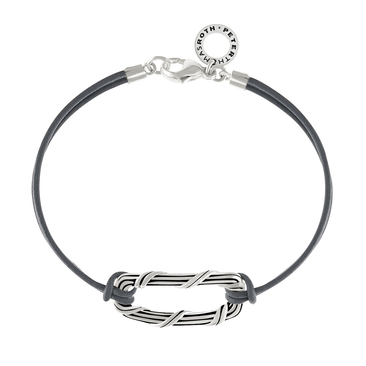 Rectangle Link Bracelet in sterling silver and slate gray leather